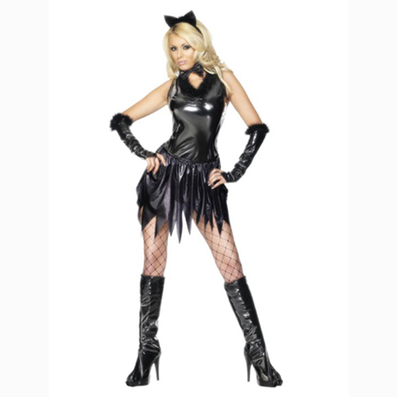 e9bfc3f52af02 Free Shipping Fancy Masquerade Party Devil Cow Cosplay Dress Vampire  Costume Halloween Costume Sexy Demon Women 2 Style Dresses
