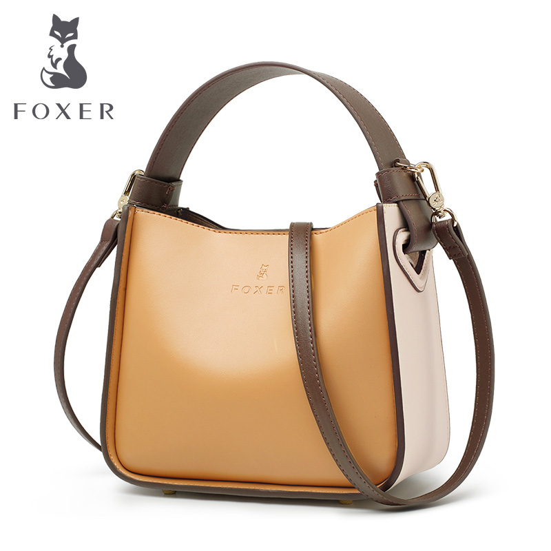 FOXER 2019 NEW Fashion Leather Bucket Bag for Women Stylish High Quality Lady Messenger Bag & Shoulder Bags Valentine's Day Gift