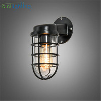 vintage retro wall lamps iron black wall sconces rainproof indoor outdoor wall lights porch bar garden living room aisle lamps