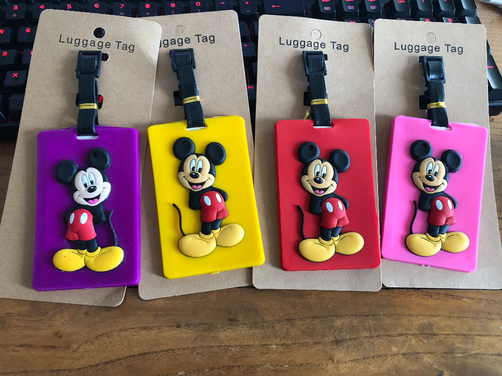 2018 Fashion Cartoon Mickey Suitcase Luggage Tag Mouse ID Address Holder Baggage Label Silica Gel Identify Travel Accessories