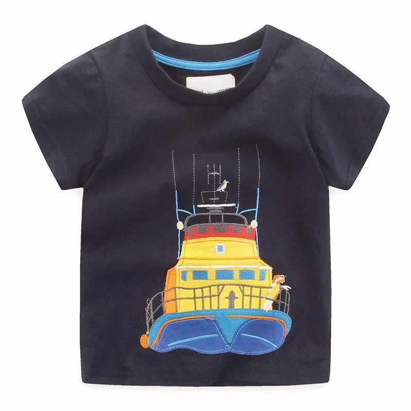 Kids nieuwe ontworpen cartoon kleding met applique een boot baby jongens meisjes korte mouw zomer t shirts hot selling t shirt voor kinderen