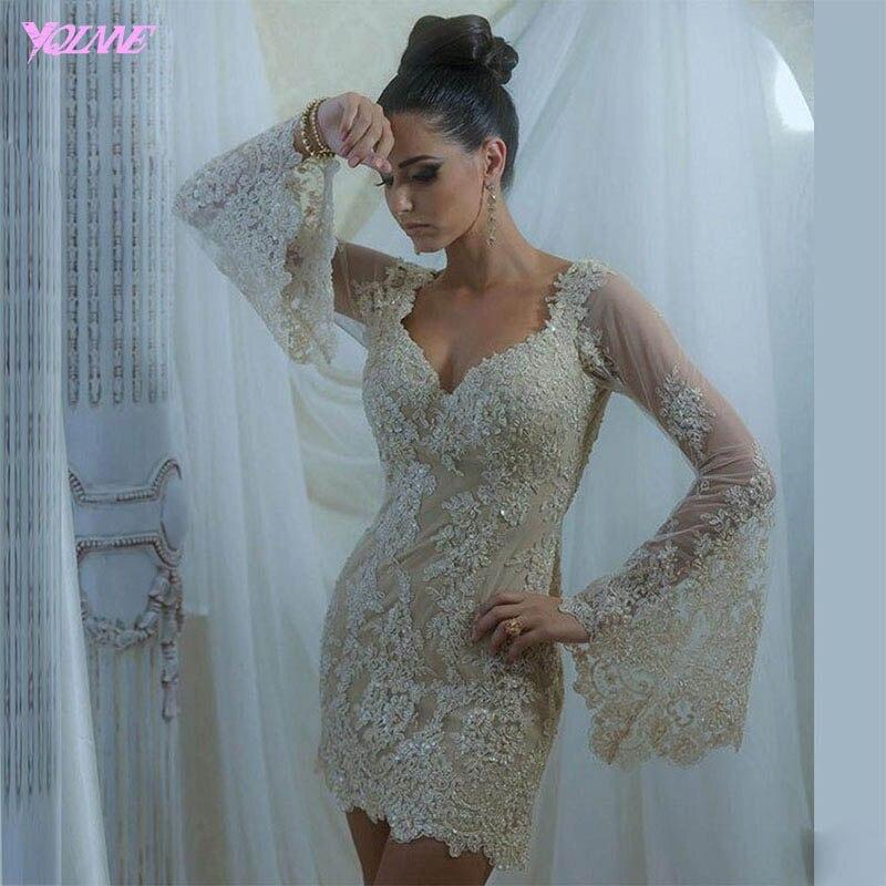 YQLANNE Elegant Champagne Lace Cocktail Dresses Full Sleeve Formal Women Party  Dress Beaded Knee Length Vestido De Festa c0acdd4a00d9