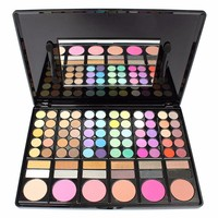 Fashion 78 Colors Pro Eyeshadow Palette Makeup Powder Cosmetic Brush Kit Box With Mirror Women Make