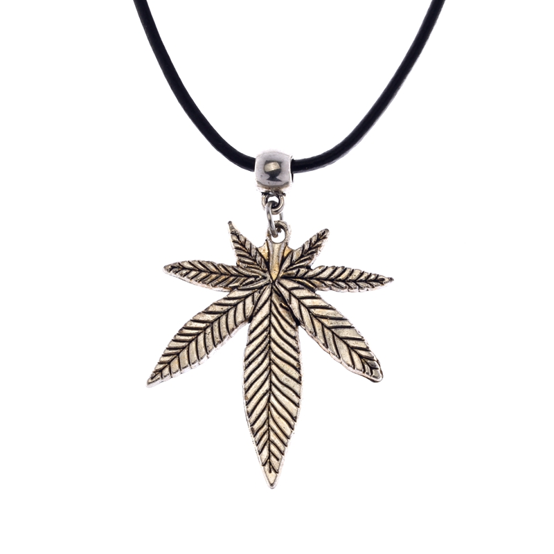 Mens Womens Marijuana Cannabis Leave Pendant Genuine Leather Necklace Jewelry 60cm 1pcs Ne303