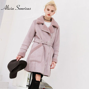 Deer Leather Cashmere Jacket Female Long Lambswool Trench Coat Women Thickening Warm Suede Loose Cotton Winter Coat U3702