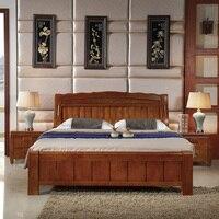 Мебель для спальни простой 1.5/1.8 м твердой древесины для хранения кровать