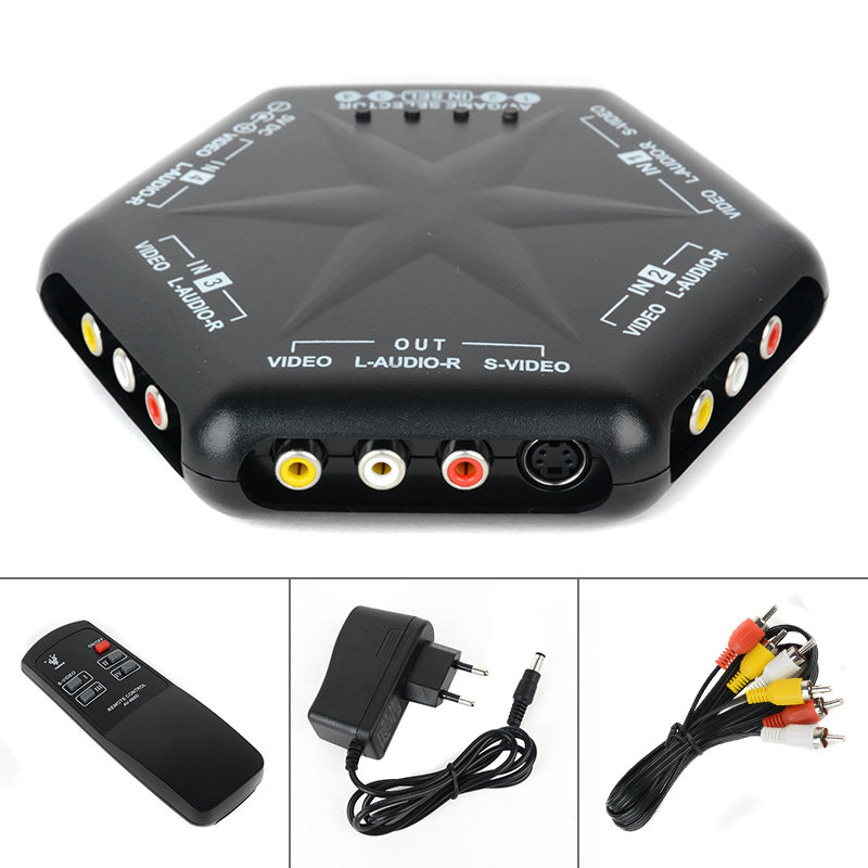 цена на Onsale 1pc 4 in 1 out S-Video Video Audio Switch 4 Port Video Game RCA AV Switch Box Selector Splitter + Remote Kits for PC DVD
