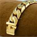 2014 new delicate brown business men bracelet gold plated stainless steel Cuban great (length: 21cm width 24mm weight: 154g)