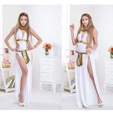 Danza del vientre larga blanca dress antiguos queen dress atractiva delgada femininas fantasia carnaval traje de cosplay de hadas fancy dress