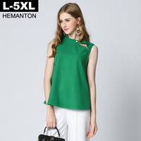 Solid Green Color Chiffon Blouse Shirt Tops 2017 Summer Sleeveless Pearl Buttons Loose Ladies Shirts 5XL