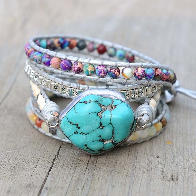 Image 3 - Newest Unique Mixed Natural Stones turquoises Charm 5 Strands Wrap Bracelets Handmade Boho Bracelet Women Leather Bracelet-in Wrap Bracelets from Jewelry & Accessories