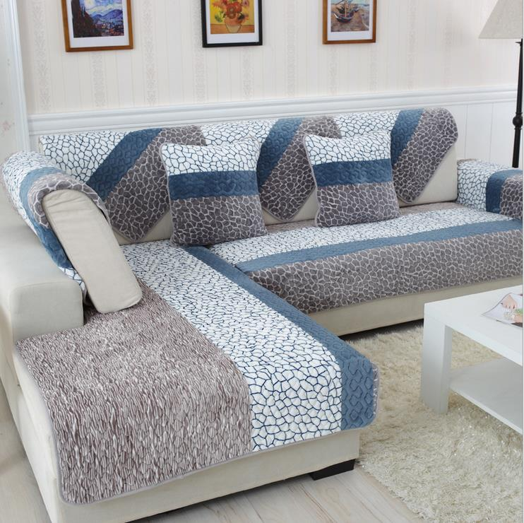 1 Piece Fleeced Fabric Sofa Cover European Style Soft Modern Slip Resistant Slipcover Seat Couch