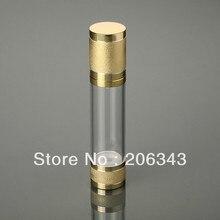 50 мл Золотая пластмассовая Вакуумная бутылка для сыворотки/лосьона/тонального крема/масла/геля/эмульсии многоразового использования портативная косметика для ухода за кожей упаковка