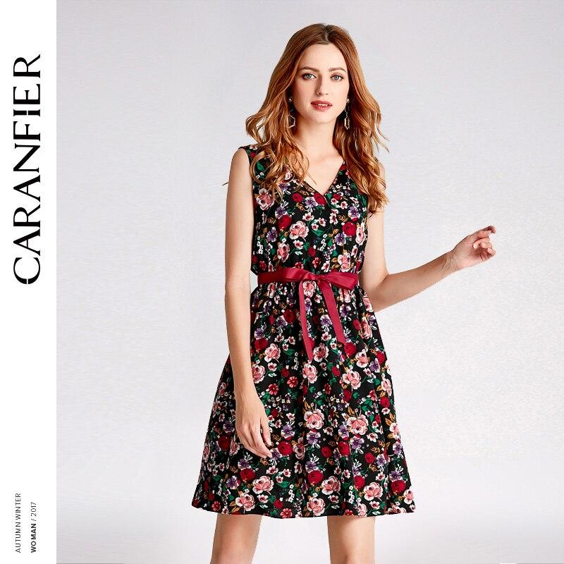 CARANFIER 2018 NEW Chiffon Summer Dress Black Print Flower V-Neck Sleeveless Sashes Ukraine A-line Midi Women Dresses Vestidos