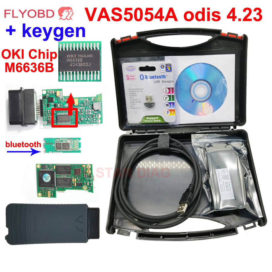 Bluetooth VAS5054A Full Chip With OKI Keygen VAS 5054A ODIS 4.23 For VW/AUDI/SKODA/SEAT diagnostic tool Support UDS Protocols