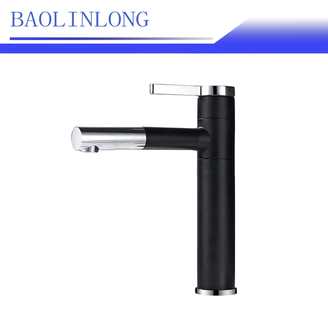 BAOLINLONG Baking Finish Black Style Brass Deck Mount Basin Bathroom Faucets Vanity Vessel Sinks Mixer faucet Tap