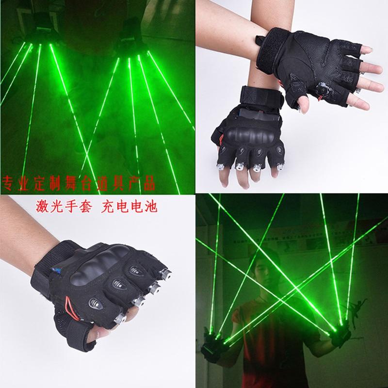 Bezpłatna wysyłka Rękawice laserowe LED Zielone światło Taniec Scena Pokaż DJ Club Party Disco Show Oświetlenie sceniczne Efekt 5 Głowica laserowa