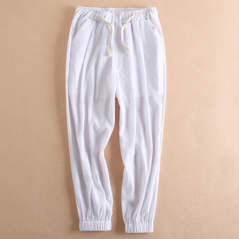 Mens Casual Straight Ankle-length Pant Linen Thin Pants Elastic Waist Chinese Vintage Pantalettes Drawstring Soft Harem Trousers Casual Pants