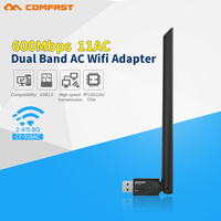 COMFAST 2.4 Gam & 5.8 Gam 600 Mbps USB WIFI adapter 5 Ghz 802.11ac adapter wifi Comfast Cf-Wi-Fi Mạng LAN Card Adaptor cho windows XP ios