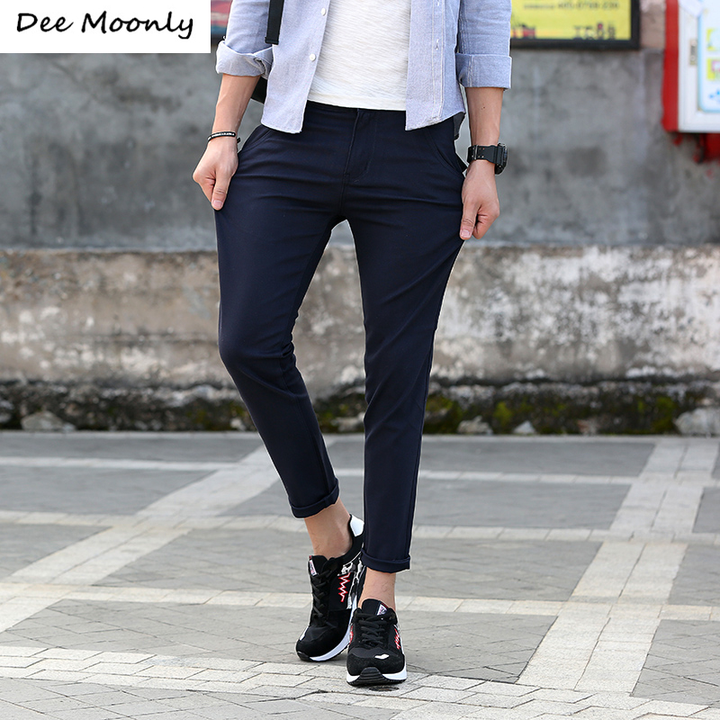 DEE MOONLY 6 Colors Spring Summer Business Or Casual Style Ankle Pants Men Slim Straight Casual ...