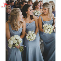 2016 Dusty Blue Bridesmaid Dresses One Shoulder Ruched Chiffon Long Wedding Guest Dresses Cheap Maid Of