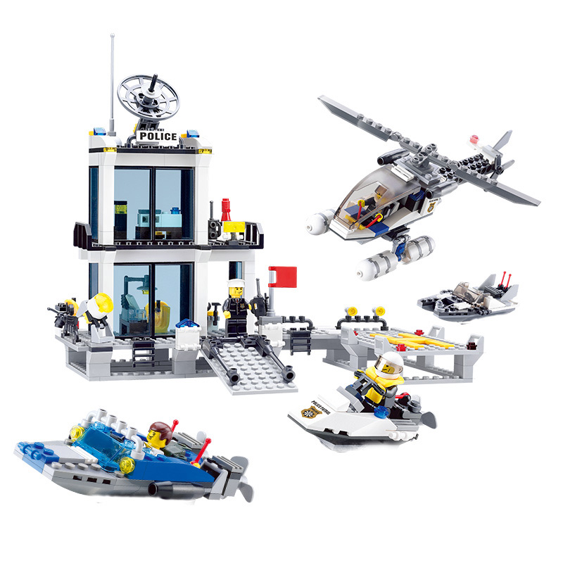 KAZI City Police Station Swat Helicopter Speedboat DIY Block Building Model Kits Classic Education Toys Gifts For Children jie star police pickup truck 3 kinds deformations city police building block toys for children boys diy police block toy 20026