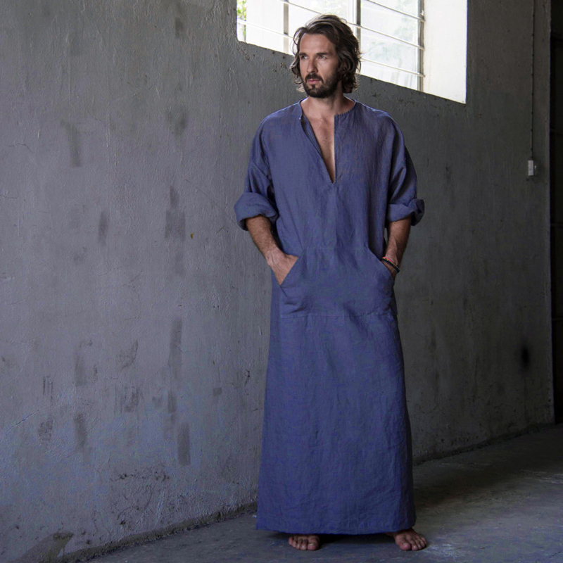 7 VEILS Men's Robe Casual Kaftan Cotton Thobe V Neck Long Gown Side With Pockets Caftan Sleepwear Nightgowns  Nightshirt