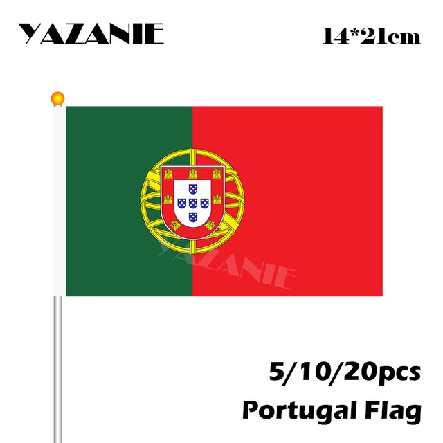 US $1 53 15% OFF|YAZANIE 14*21cm 5/10/20pcs The Small Custom Portugal Flag  Hand National 2018 World Cup Flag with Pole Handing Flag Drop shipping-in