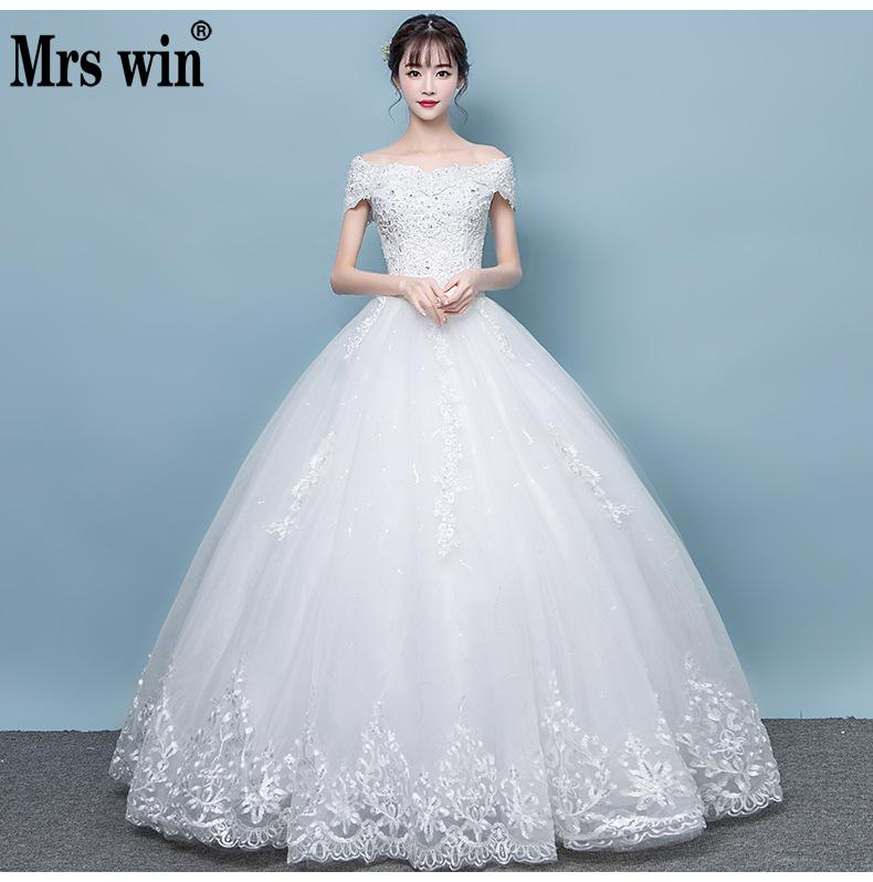 Vestido De Novias 2019 New Mrs Win Classic Embroidery Boat Neck Ball Gown Off The Shoulder