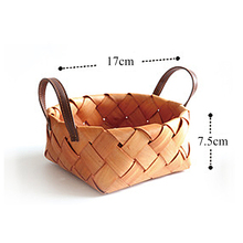 HOT Creative hand-woven round hand-held fruit basket Bread wood picnic storage kitchen tool