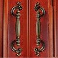 96mm creative rustico vintage furniture handles yellow antique brass drawer cabinet pull knob yellow bronze dresser door handle