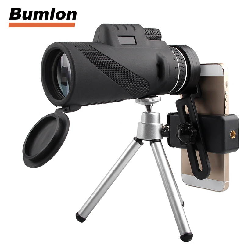 HD 40x60 Monocular for Mobilephone Low Light Night Vision Handheld Telescope with Tripod + Clip for Outdoor Hunting 38-0006