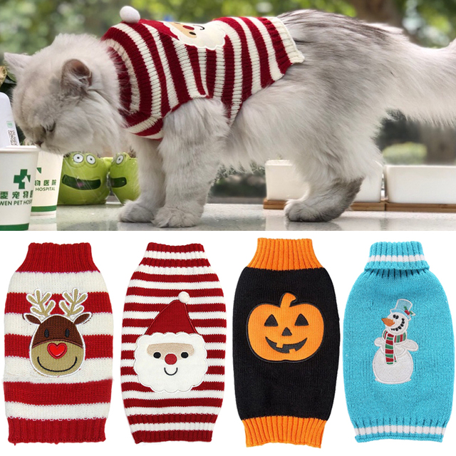 8 Color Christmas Pet Cat Sweater For Cats Halloween Clothes For Small Dogs  Cats Kedi Kitten - 8 Color Christmas Pet Cat Sweater For Cats Halloween Clothes For