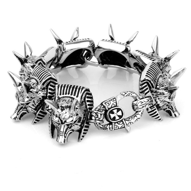 personalized birthday gifts for cool man power wolf head Titanium jewelry bracelets alloys