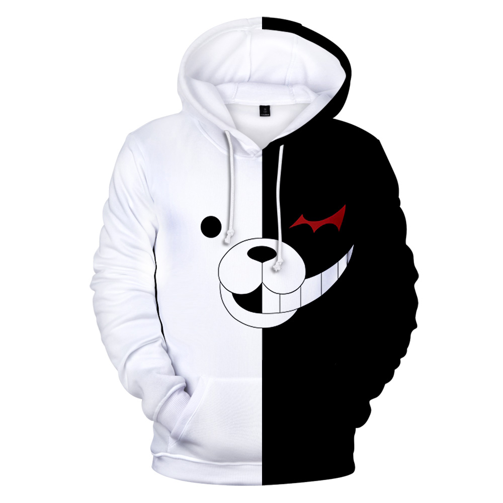 Aikooki Monokuma 3D Hoodies Men Women Sweatshirts Harajuku Hoodie Pullovers Print 3D Monokuma Hoodies Men Clothing