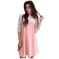 TFGS Women S New Spring Autumn Casual Dress Solid Straight Loose Mini Party Lace O Neck