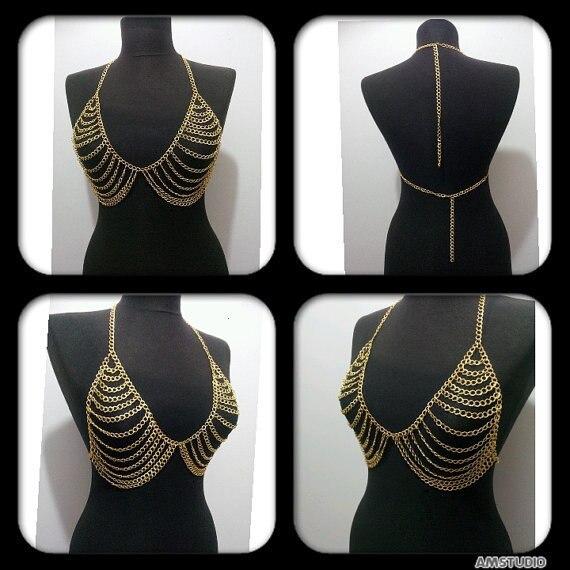 2015 new Luxury Fashion Stunning Sexy Body Belly, Silver Gold Tone Body Chain Bra Slave Harness Necklace Tassel Waist Jewelry