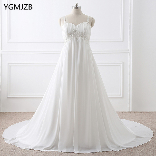 US $83.94 44% OFF|Boho Wedding Dress Plus Size A Line with Spaghetti Straps  Beaded Appliques Lace Chiffon Beach Bride Dress Bridal Gown -in Wedding ...