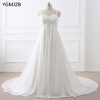Boho Wedding Dress Plus Size A Line with Spaghetti Straps Beaded Appliques Lace Chiffon Beach Bride Dress Bridal Gown