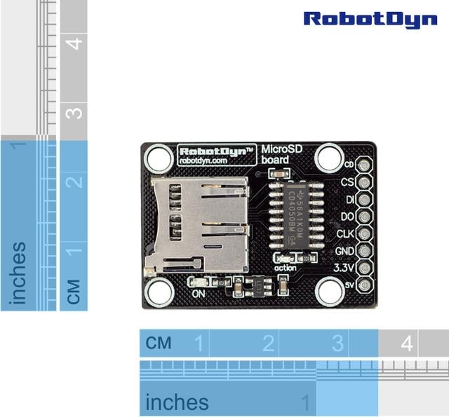 وحدة بطاقة SD عالية السرعة. 3.3 V/5 V عالمي ، لمنطقي 3.3V و 5 V. بطاقة microSD و MMC.