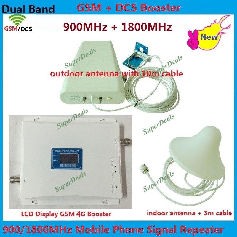 Affichage À CRISTAUX LIQUIDES GSM Repetidor 4G LTE DCS booster FDD Cellulaire Répéteur de Signal de Téléphone Portable 900 MHz 1800 MHz Amplificateur Répéteur