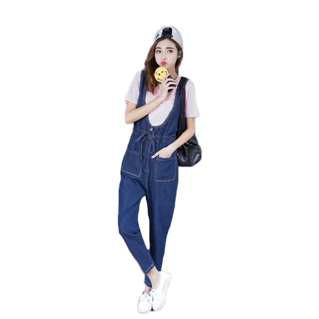2017 spring European ladies cute vintage jumpsuit women pockets slim casual sleeveless denim romper women jumpsuits