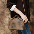 2017 Genuine Leather Women Handbag Shoulder Messenger Bag Handmade Cow Leather Top Handle Bag Female Flap