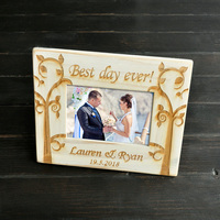 Personalized Retro White Frame Wedding Picture Frame Engagement Gift For Couple