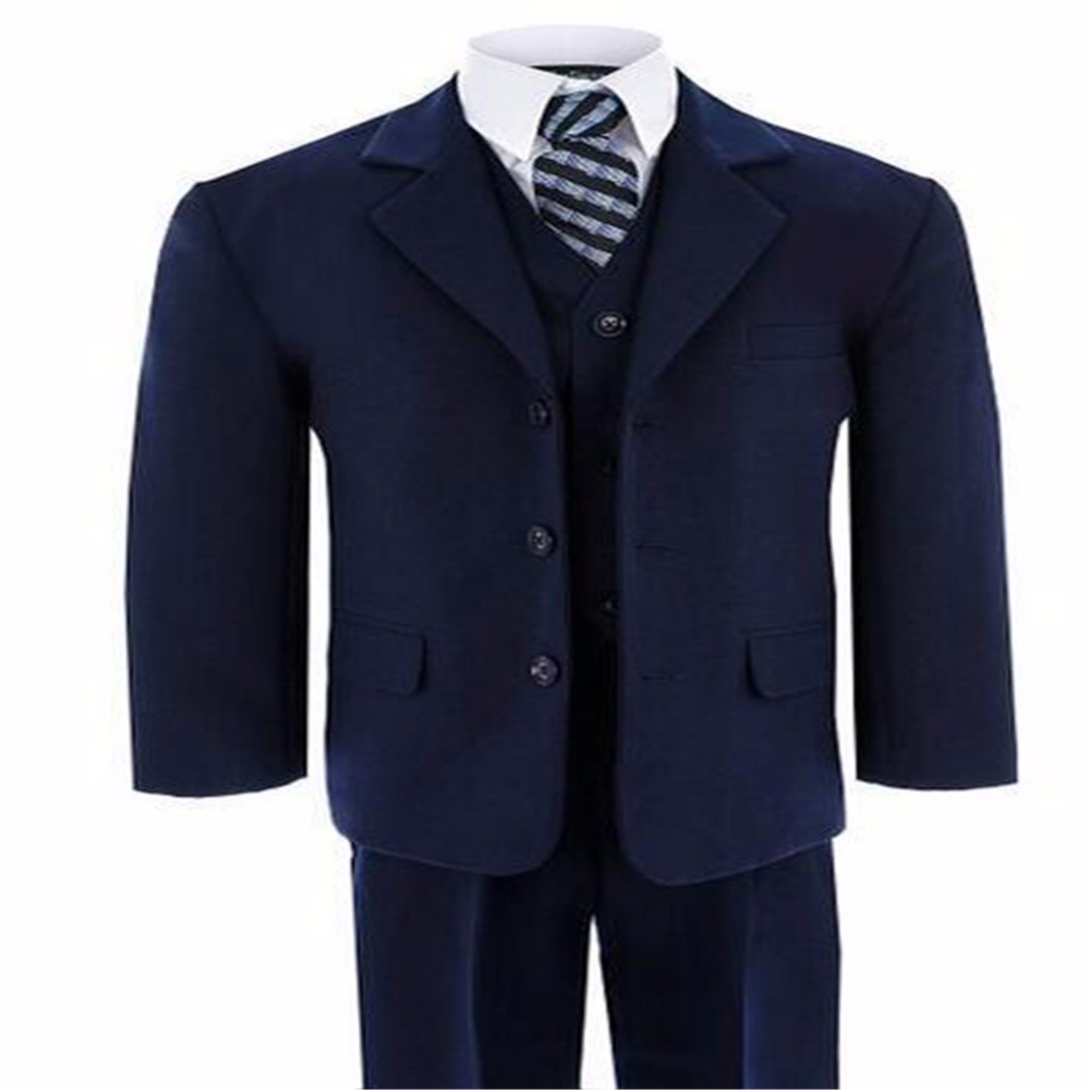 Boys suits for wedding formal occasion blue classic boys flower girl dress suits wedding suit boy Kid blazer(jacket+pants+vest)