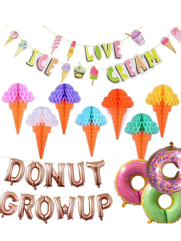 Donut Growup Themed Party Decorations Doughnut Ice Cream Foil Latex Balloons Baby Birthday Decor Supplies in Party DIY Decorations from Home Garden