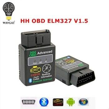 WAVGAT Chip 25K80 versión 1,5 ELM327 HH OBD avanzada OBDII OBD2 adaptador bluetooth Mini ELM 327 Auto puede adaptador inalámbrico escáner