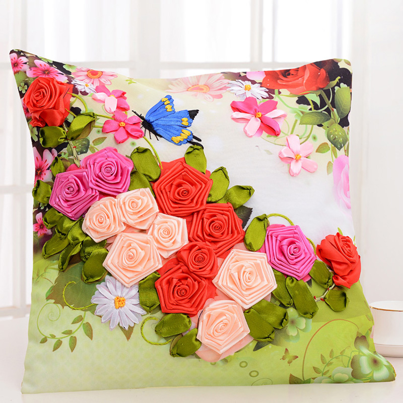 Ribbon embroidery pillow promotion shop for promotional