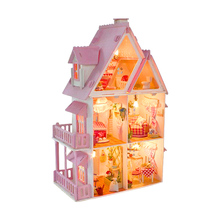 Big Size Three Layer DIY Doll House Wooden Doll Houses Miniature dollhouse Furniture Kit Toys for children Christmas Gift