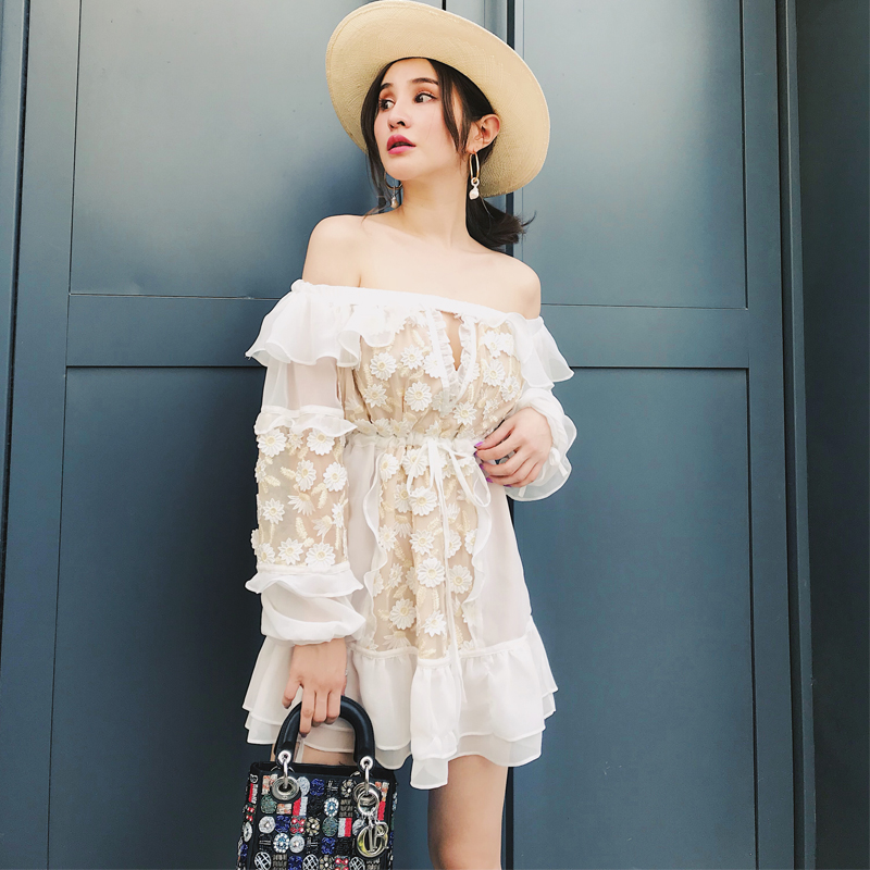 High Quality Designer White Summer Dress 2018 Shash Long Sleeve Floral Appliques Women Beach Dress Sexy Off Shoulder Mini Dress image